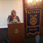 Director Brittani Saunders presenting to the Greensburg Rotary Club