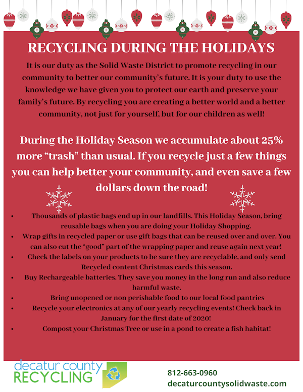 Holiday Recycling Information
