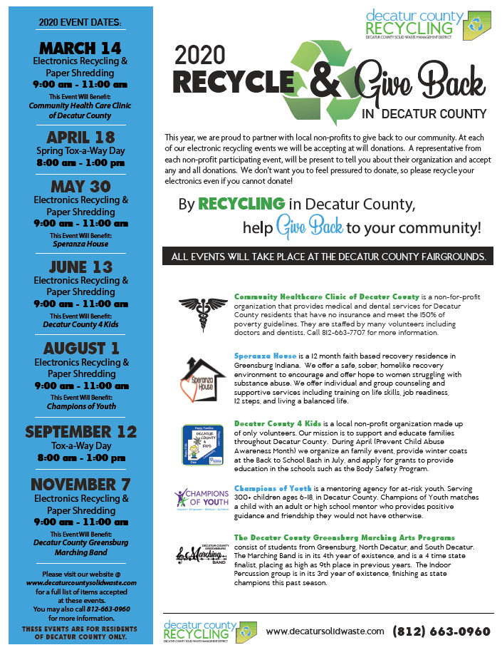 2020 Recycling Events Calendar