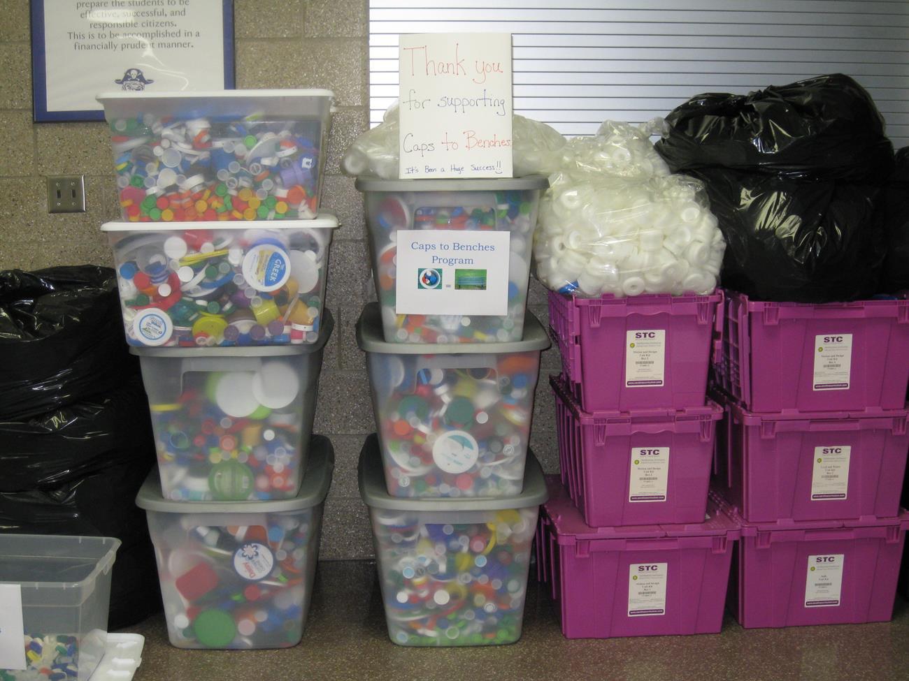 Bins and bins of plastic caps