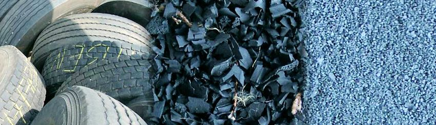 Photo showing Tire Recycling Stages